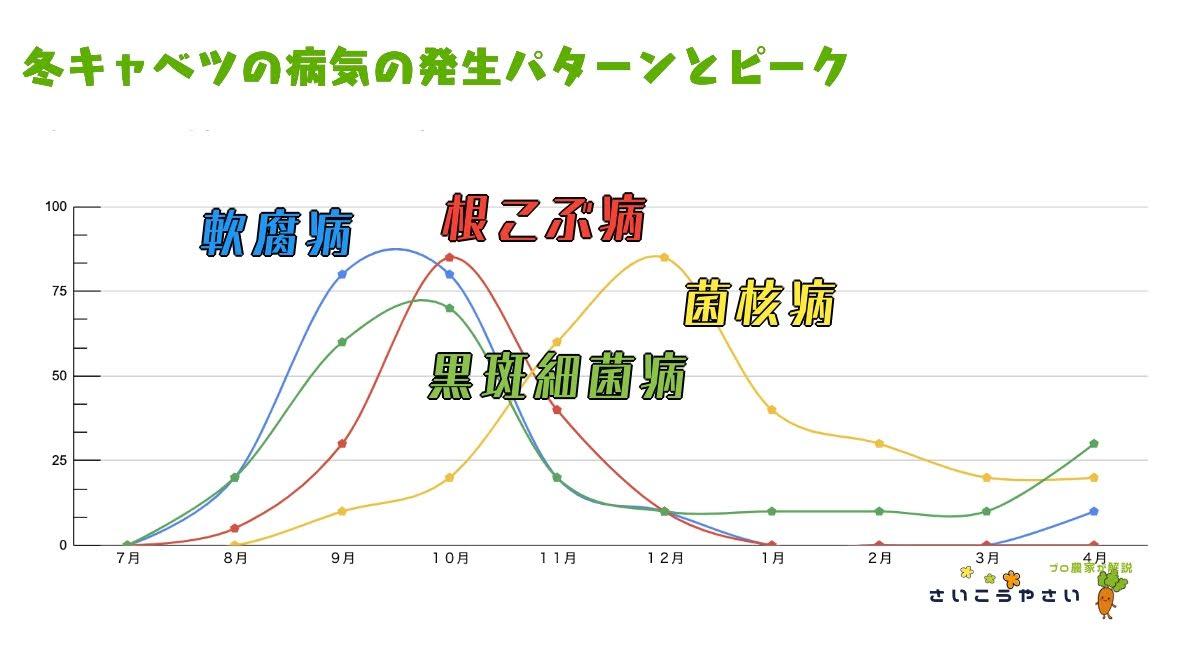 冬キャベツの病気の発生パターンとピークのグラフ
